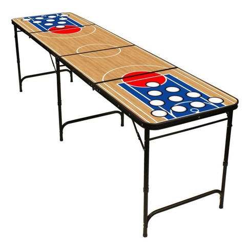 Red Cup Pong 8 Folding Beer Table With Bottle Opener Ball Rack And 6 Basketball Design Target