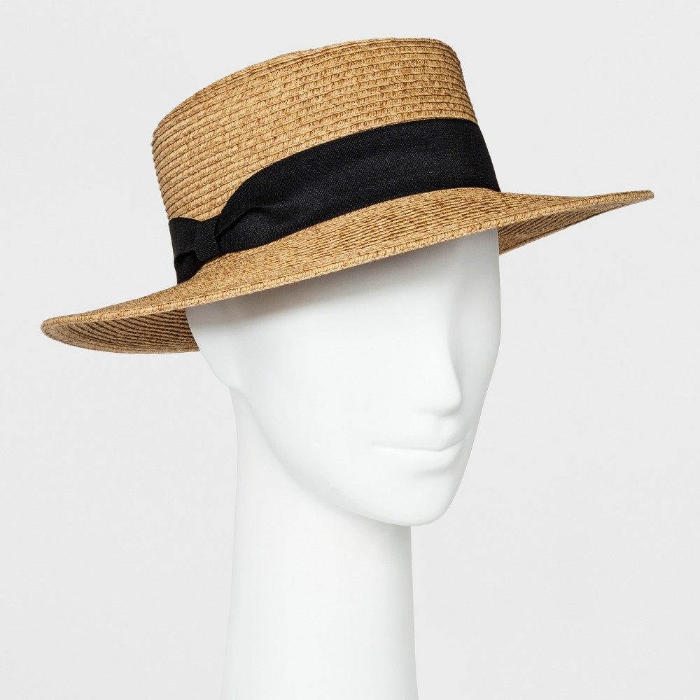 1940s Style Hats | Fascinator, Turban, Fedora Womens Packable Boater Hat - A New Day Beige $12.99 AT vintagedancer.com