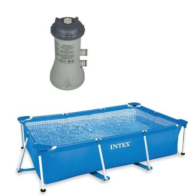 Frame Above Ground Baby Splash Swimming Pool Bundled w/ Intex Filter Pump