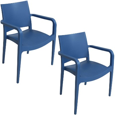 Sunnydaze Plastic All-Weather Commercial-Grade Landon Indoor/Outdoor Patio Dining Arm Chair, Navy Blue, 2pk
