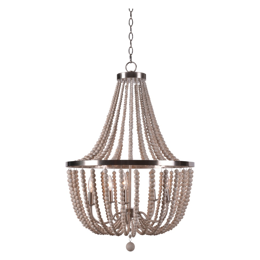 Dumas 5 Light Wood Bead Chandelier Ceiling Lights - Kenroy Home, Multi-Colored