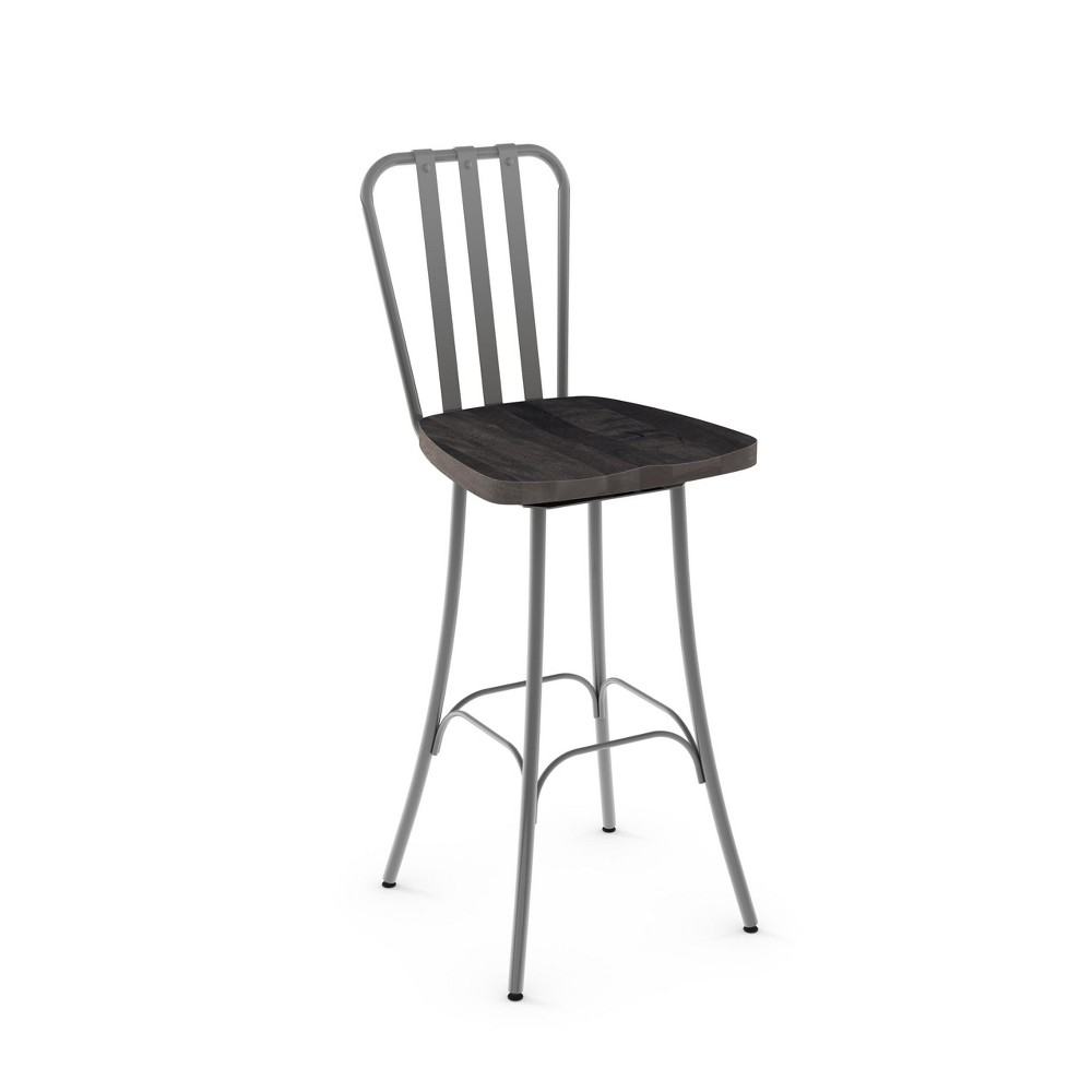 "Image of ""25.5"""" Amisco Bond Counter Stool with Gray Wood Seat Glossy Gray Metal"""