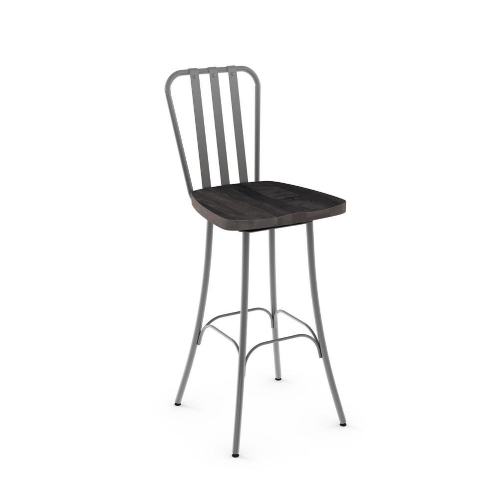 30 Amisco Bond Bar Stool with Medium Dark Gray Wood Seat Glossy Gray Metal