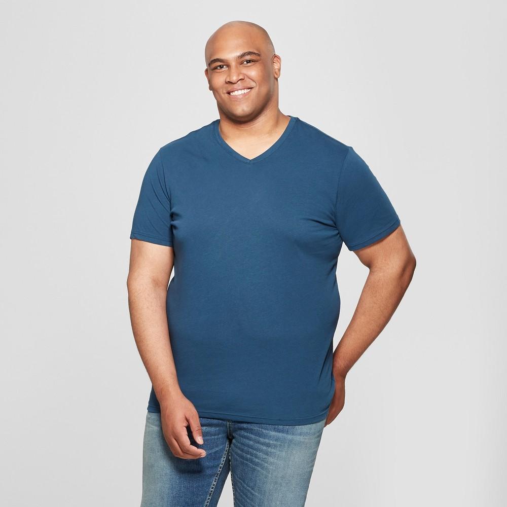 Men's Big & Tall V-Neck Short Sleeve T-Shirt - Goodfellow & Co Thunderbolt Blue 3XBT
