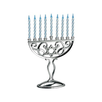 Rite Lite Silver Miniature Menorah Set with Candles 5.5 Inches