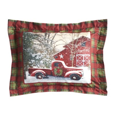 Lakeside Home for the Holidays Red and Green Plaid Holiday Truck Pillow Sham