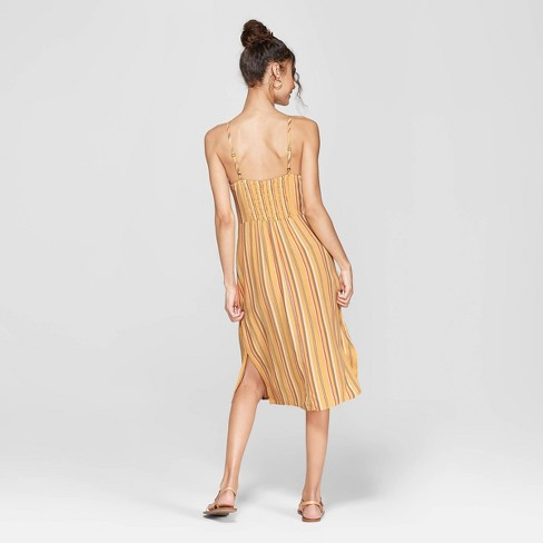 fd19135fff3b Women s Striped Strappy High Neck Midi Dress - Xhilaration™ Sunflower Moss  XL   Target