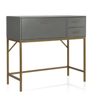 Lennon Storage Console Unit Brass - CosmoLiving by Cosmopolitan