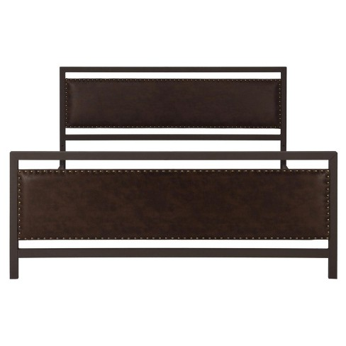 Vintage Metal and Upholstered Bed with Nailheads (Full) - Brown - Dorel Home Products - image 1 of 8