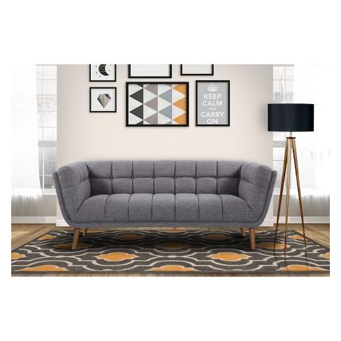 Phantom Mid-Century Modern Sofa in Dark Gray Linen and Walnut Legs - Armen  Living