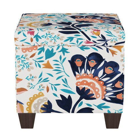 Cool Fairland Storage Ottoman Kaya Floral Aqua Threshold Gmtry Best Dining Table And Chair Ideas Images Gmtryco