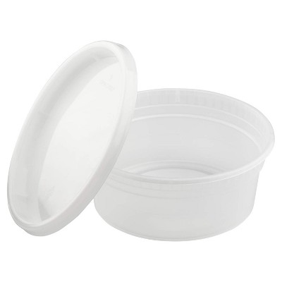 Lollicup Karat 8 Ounce Recyclable Polypropylene Microwave, Dishwasher, and Freezer Safe Deli Containers with Lids for Hot or Cold Foods (Pack of 240)
