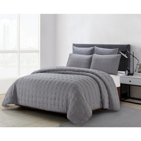 Lily Ny 3 Pc Stonewashed Quilt Sets, Grey King Size Bedding Next
