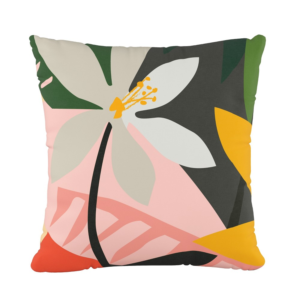 Tropical Print Throw Pillow - Cloth & Co., Multi-Colored