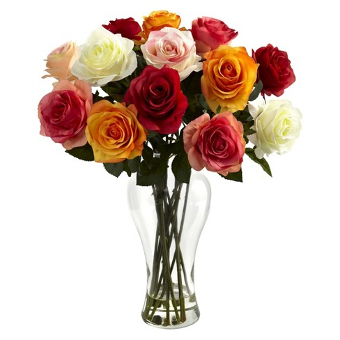 Nearly Natural Assorted Blooming Roses w/Vase - image 1 of 1
