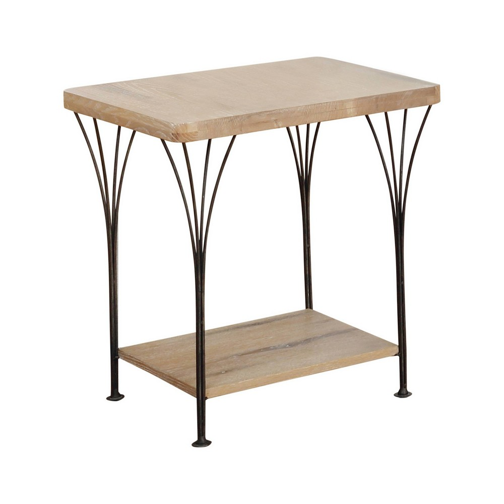 Thetford End Table Wood and Metal Washed Wood Alaterre Furniture