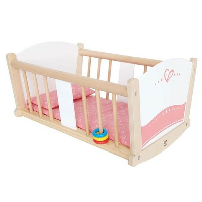 Hape Kids Wooden Rock-A-Bye Pretend Play Sturdy Baby Doll Cradle Toy Furniture