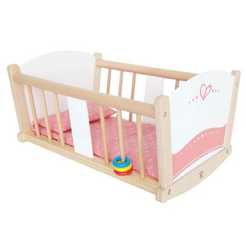 Hape Kids Wooden Rock-A-Bye Pretend Play Sturdy Baby Doll Cradle Toy Furniture - image 1 of 4
