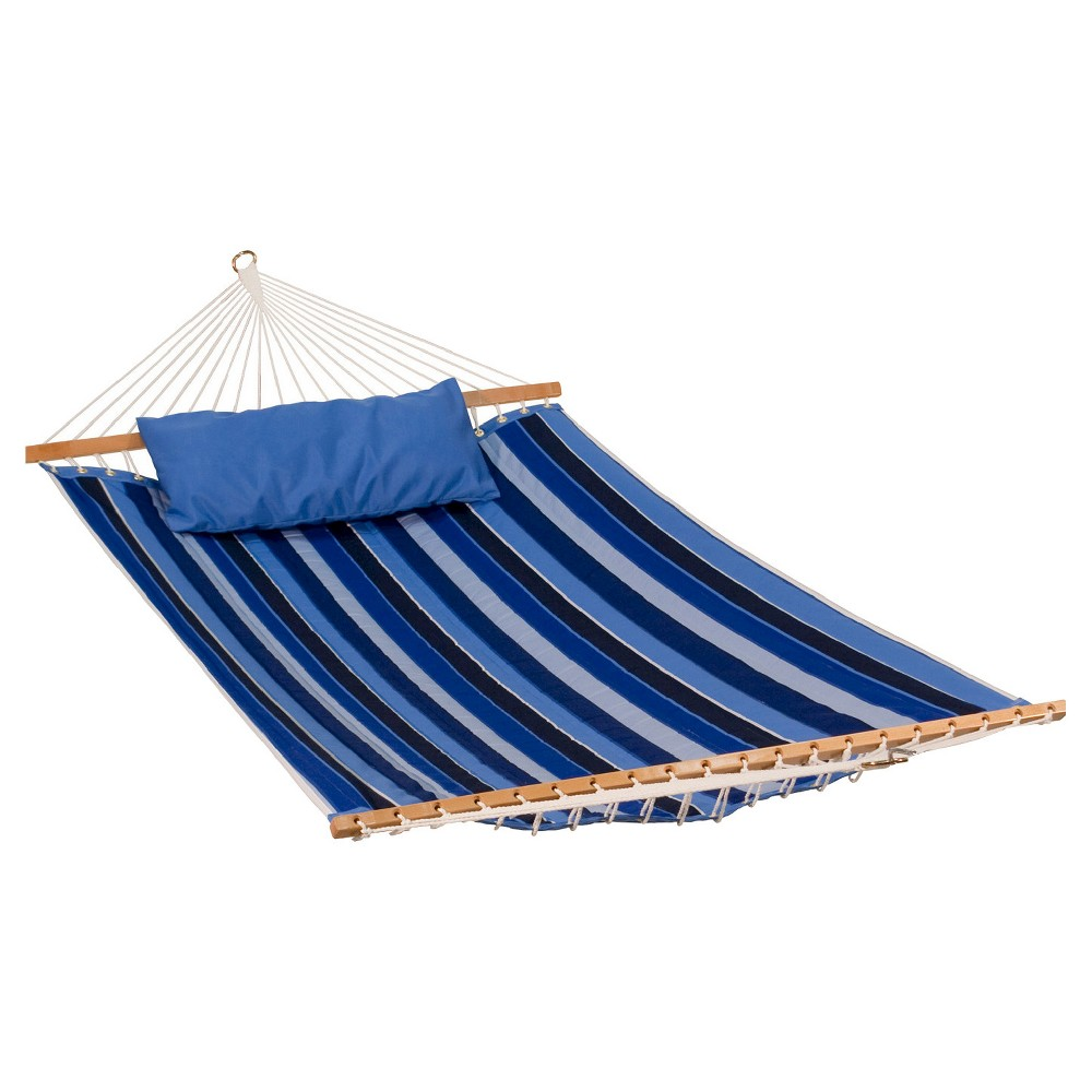 Image of Algoma Sunbrella Quilted Hammock Reversible 13' - Token Surfside Stripe/Canvas Blue, Milano Cobalt Stripe/Canvas Capri Solid