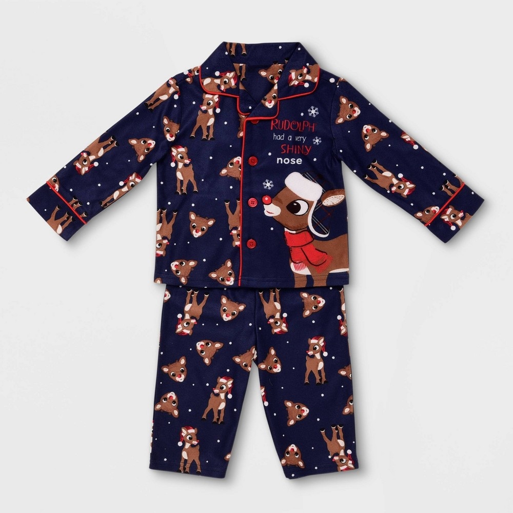 Image of Baby Boys' Rudolph the Red-Nosed Reindeer Pajama Set - Navy 12M, Boy's, Blue/Red