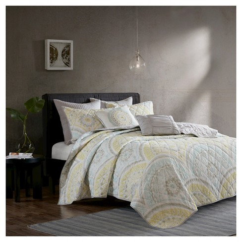 Yellow Leyla 100% Cotton Printed 7pcs Coverlet Set - image 1 of 7