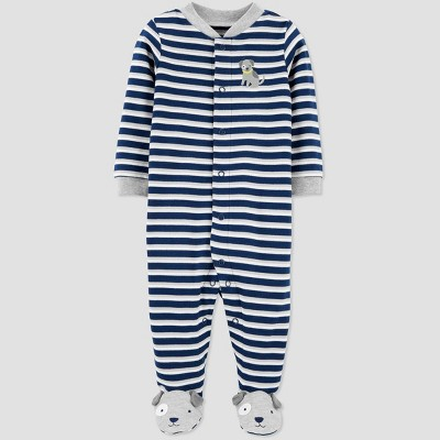 Baby Boys' Puppy Striped One Piece Pajama - Just One You® made by carter's Blue Newborn