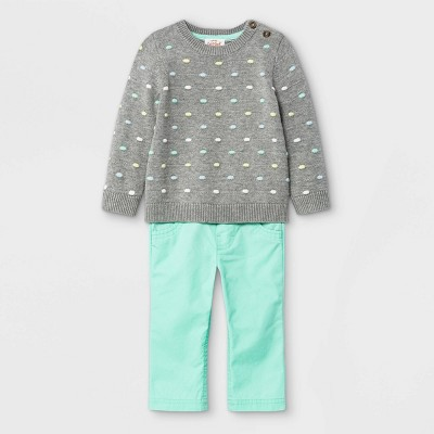 Baby Boys' Bobble Sweater Top & Bottom Set - Cat & Jack™ Gray