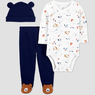 Baby Boys' 3pc Bear Side Snap Top and Bottom Set - Just One You® made by carter's Navy Preemie
