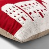Embroidered Holiday Village Scene Oversize Lumbar Throw Pillow Red/White - Threshold™ - image 3 of 4
