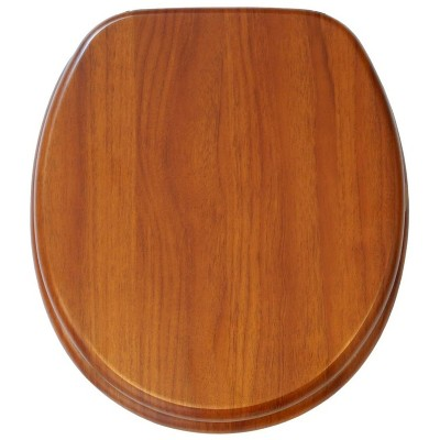 Sanilo 250 Round Molded Wood Toilet Seat with No Slam, Slow, Soft-Close Lid, Stainless Steel Hinges, Unique Fun Decorative Design, Mahogany Wood
