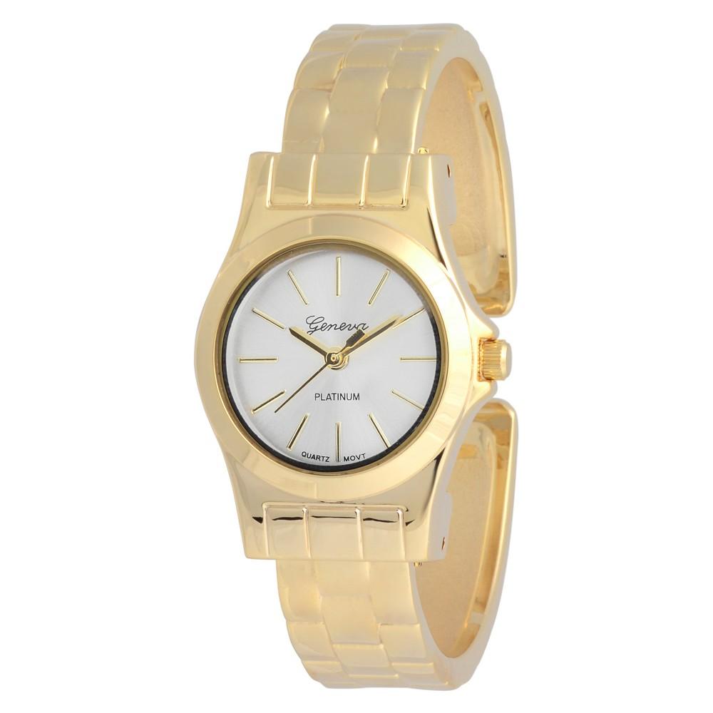 Women's Geneva Platinum Adjustable Hinged Cuff Watch - Gold/White