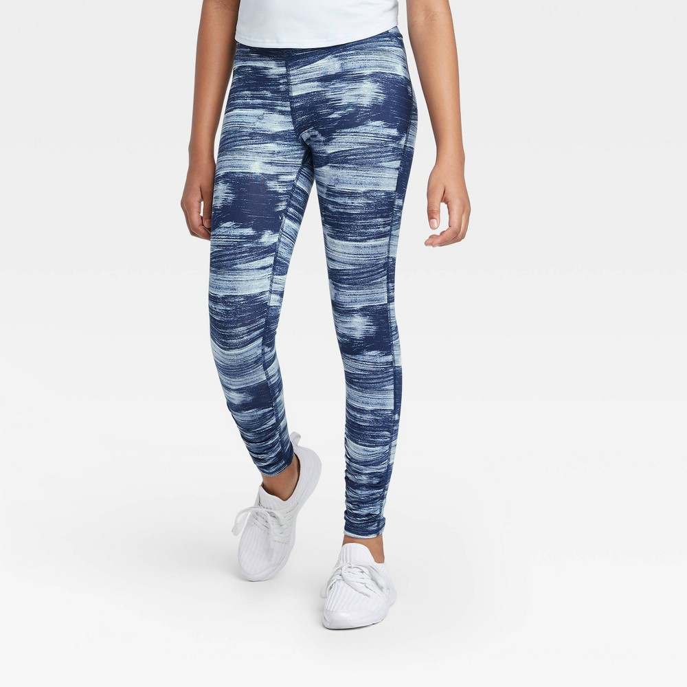 Girls' Ruched Performance Leggings - All in Motion Navy XS, Girl's, Blue was $16.0 now $11.2 (30.0% off)