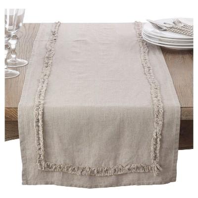 "Light Brown Ruffled Design Linen Table Runner (16""x72"")- Saro Lifestyle"
