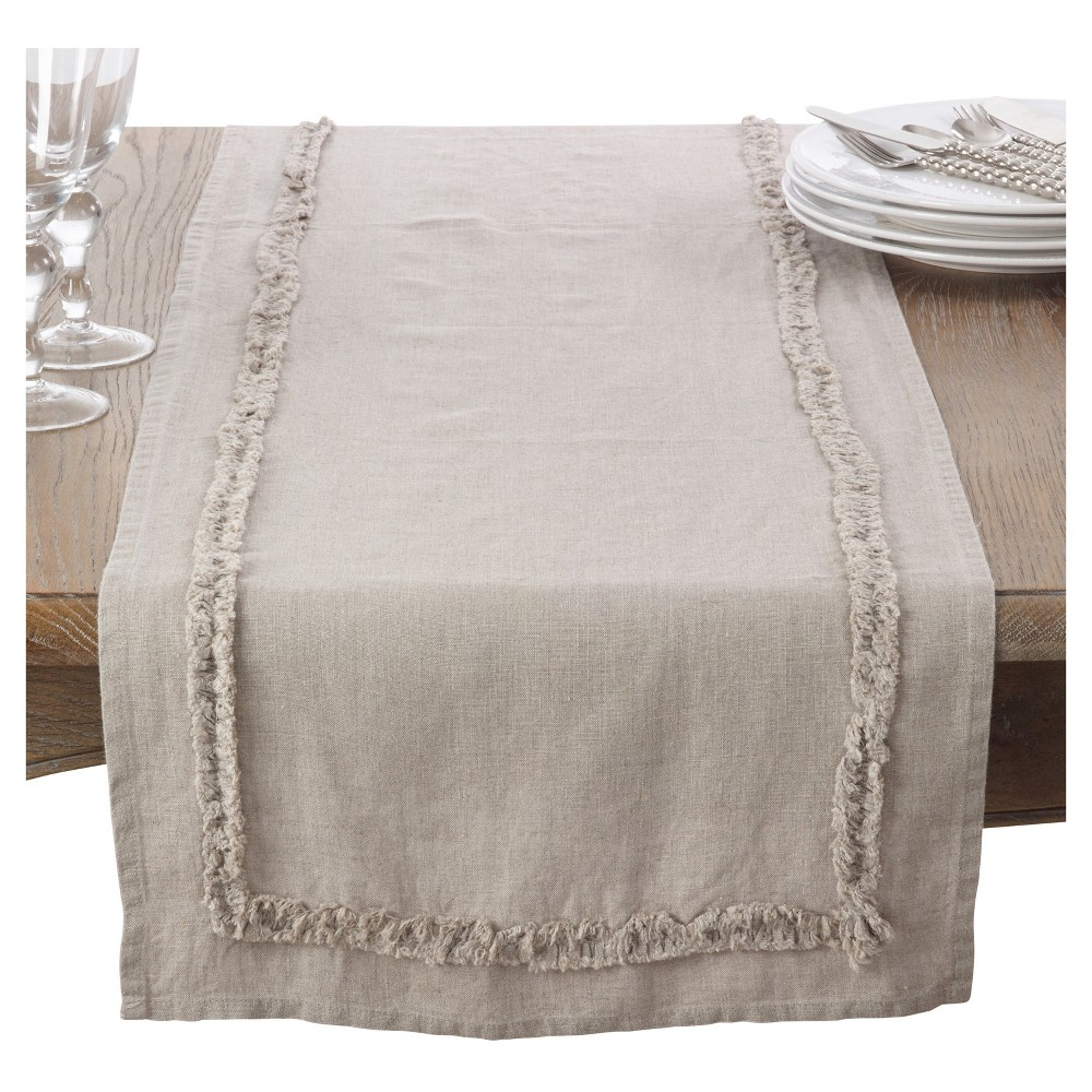 Light Brown Ruffled Design Linen Table Runner (16x72) - Saro Lifestyle