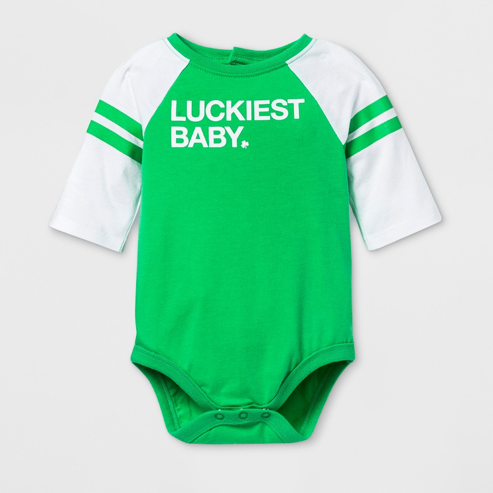 Image of Baby 3/4 Sleeve 'Luckiest Baby' Bodysuit - Cat & Jack Green Newborn, Kids Unisex