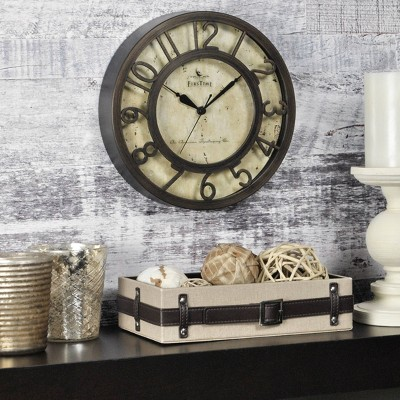 """8"""" Raised Number Wall Clock Oil Rubbed Bronze - FirsTime & Co."""