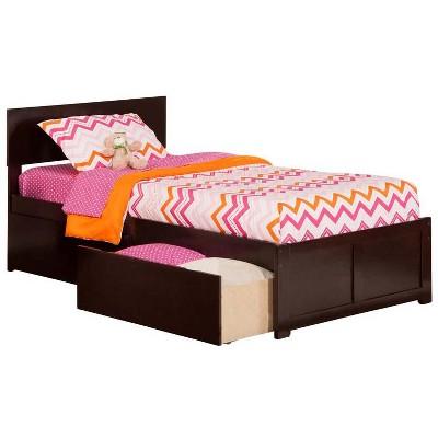 Orlando Twin XL Flat Panel Foot Board w/ 2 Urban Bed Drawers Espresso - Atlantic Furniture