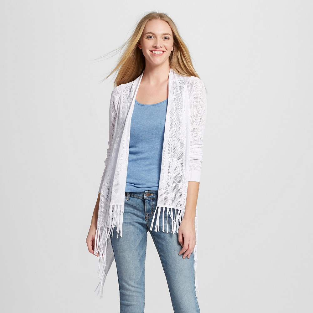 Image of Women's Open Mesh Cardigan with Fringe White L - 262.5