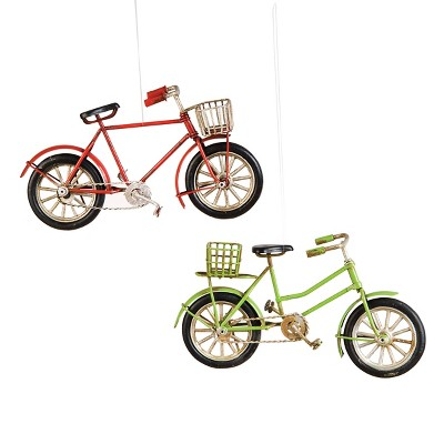 Gallerie II Metal Red and Green Bicycle with Basket Christmas Xmas Ornament A/2