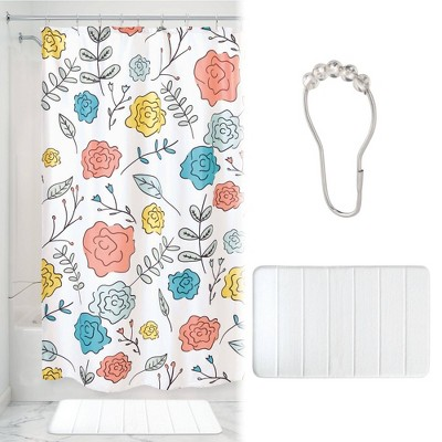 Sophie Floral Shower Curtain with Memory Foam Mat and Ring Bundle - iDESIGN