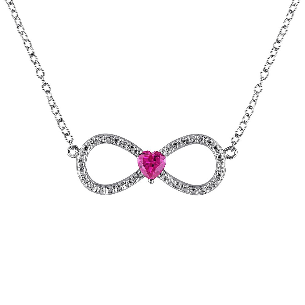 1/4 CT. T.W. Heart Shape Ruby Infinity Pendant Necklace in Sterling Silver - Ruby