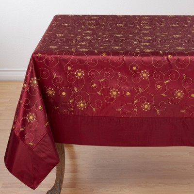 Saro Lifestyle Holiday Tablecloth With Embroidered And Sequined Design