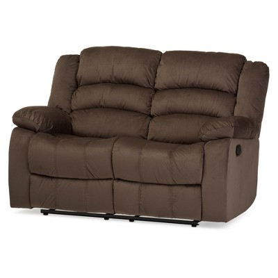 Hollace Modern and Contemporary Microsuede 2 Seater Recliner Taupe - Baxton Studio