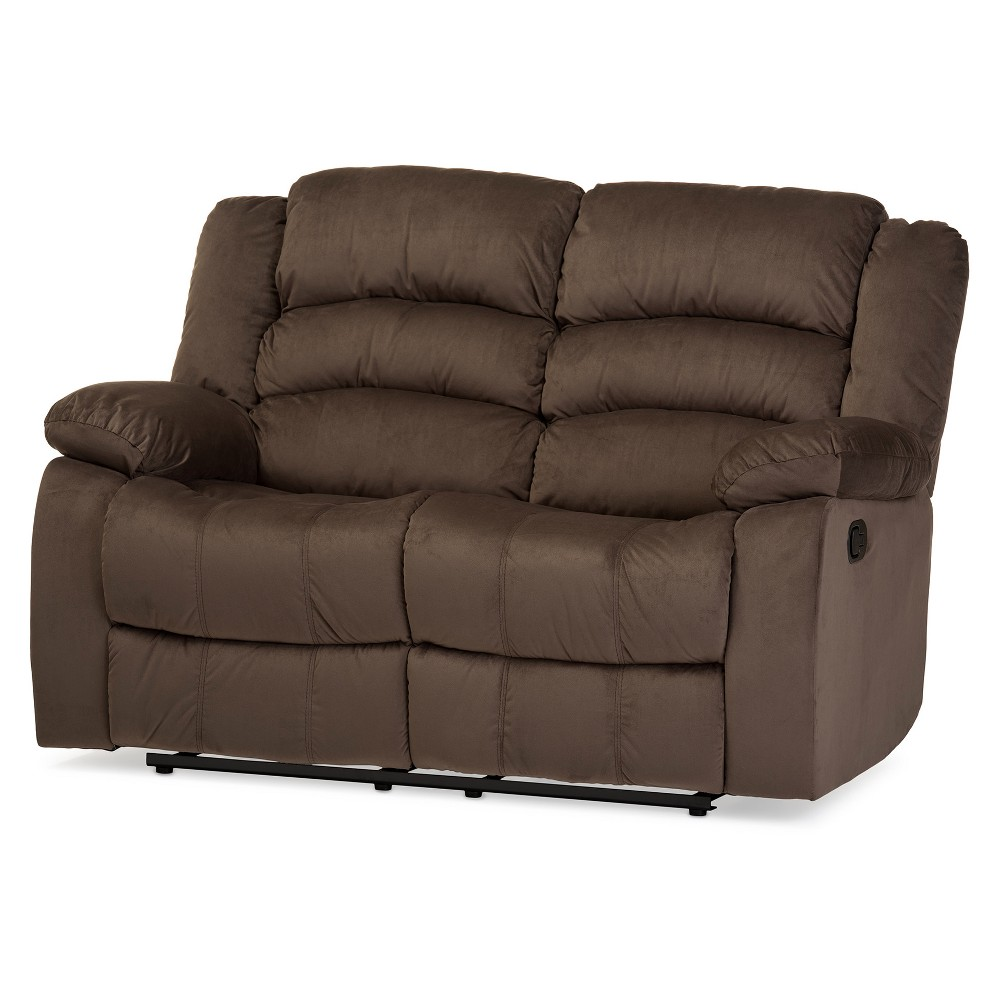 Hollace Modern and Contemporary Microsuede 2 - Seater Recliner - Taupe - Baxton Studio, Brown