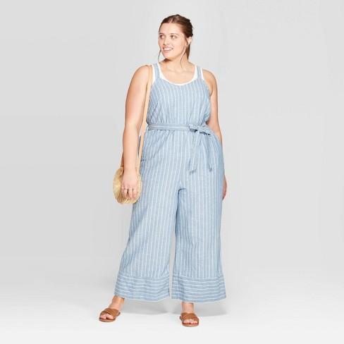 Women's Plus Size Sleeveless V-Neck Belted Denim Jumpsuit - Universal Thread™ Medium Blue - image 1 of 3