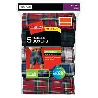 Target.com deals on 5-Pack Hanes Mens Tartan Plaid Boxer Shorts