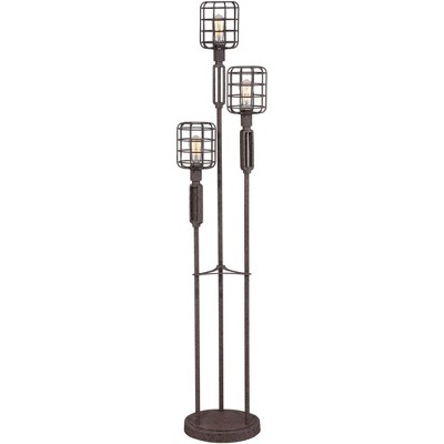Franklin Iron Works Modern Industrial Floor Lamp Rustic Metal Cage Dimmable 3-Light LED Edison Bulbs for Living Room Bedroom
