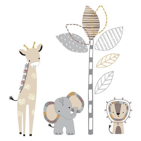 Lambs & Ivy Jungle Safari Gray/Tan Elephant/Giraffe Nursery Wall Decals/Stickers - image 1 of 3