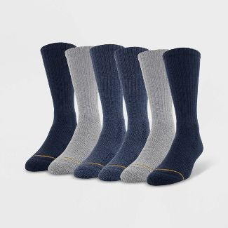 Signature Gold by GOLDTOE Men's Repreve Modern Essential Crew Socks 6pk - Denim Blue 6-12.5
