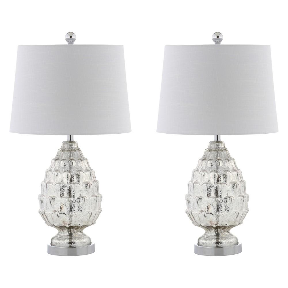 25.5 Artichoke Glass Led Table Lamp Set Of 2 Silver (Includes Energy Efficient Light Bulb) - Jonathan Y